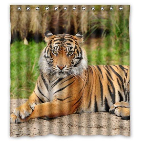 Cucia 180 x 180 cm Cute Tiger Theme Imprimer 100% Anneaux de douche en polyester Salle de bain Rideau de douche inclus