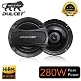 "Dulcet DC-S60 6"" 3-Way Coaxial Car Speakers with 280 Watts Peak Power Output"
