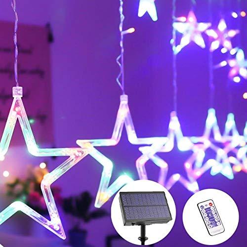 LEDクリスマスライトカーテンソーラーリモートコントロール主導のカーテンライトタイマートゥインクルストリングライト付き8照明モード,B