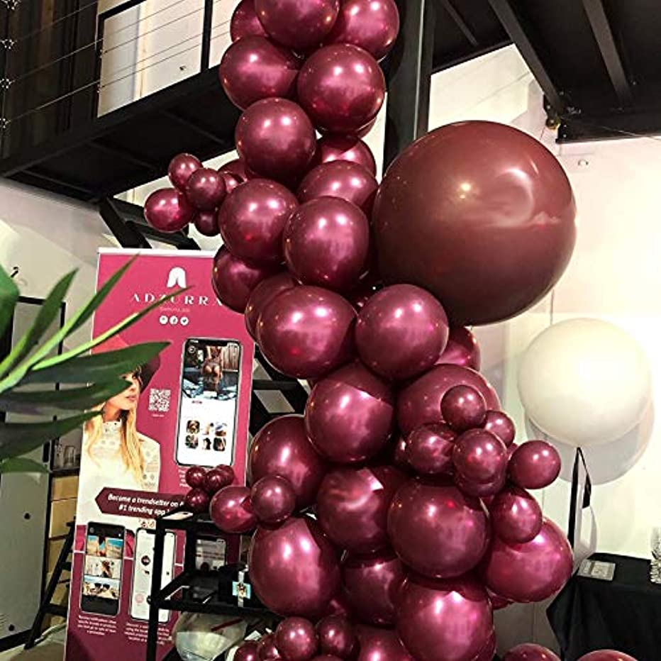 Pearl Burgundy?Balloons Garland Kit 105 Wine Red Latex Balloons Party Decorating kit:16ft Balloon Strip Tape 100 Balloon Dot Glue for Kids Adult Birthdays Weddings Receptions Bridal Showers Decoration