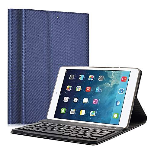 LUCKYDIY iPad Tastatur-Schutzhülle, ultra-dünne Stand-Hülle + magnetische, abnehmbare Bluetooth-Tastatur für Apple iPad CoolBlue iPad Mini 1/2/3