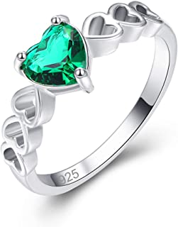 Humasol 925 Sterling Silver Filled Lab-Created Emerald Heart Band Engagement Ring for Women