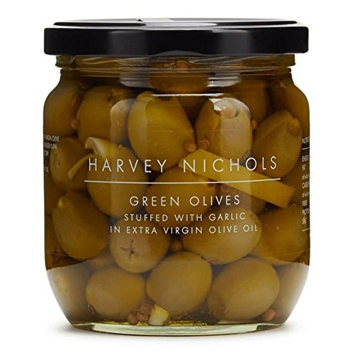 Harvey Nichols Green Olives Stuffed With Garlic - 400g (0.88lbs)
