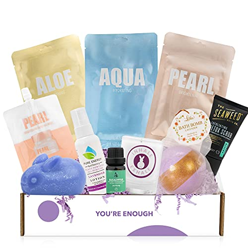 Cruelty-Free Bath Body & Spa Gifts Box - Bath Bomb, Shea Butter Tin, Bunny Soap, Bath Scented Candles and More - Great Gift for Her