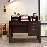 Computer Table Desk, WATERJOY PC Laptop Notebook Executive Desk, Wood Frame Student Table, Study Computer Table,Writing Study Table,Home Office Computer Desk Brown