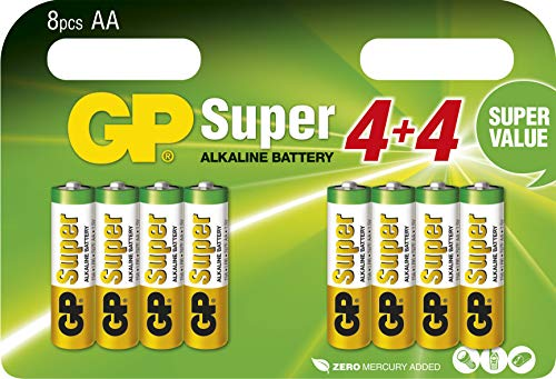 GP Batterien AA (Mignon, LR6) 1.5V, 8 Stück Blisterpack, Super Alkaline Longlife Technologie