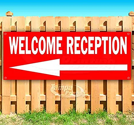 Welcome Reception 13 oz Banner Heavy-Duty Vinyl Single-Sided with Metal Grommets