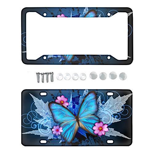 Coloranimal - Juego de 2 piezas para placa de matrícula de coche, diseño de girasol, metal