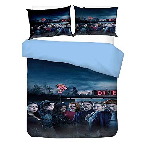Iverdale Bed Linen Jughead, Southside Serpents 135 X 200 Cm Bed Linen Set with Zip for Teenagers Girls Children 3D Galaxy Winter Pop's Duvet Cover with Pillow Caser,8,220x240cm