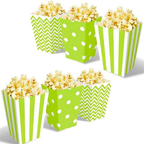 OUOQI Popcorntüten,36 Stück Popcorn Box,Candy Bar TüTen,Snackbox Pappe,Party Papiertüten Streifen Tupfen Wellenförmige Muster für Party Geburtstag Hochzeit Geschenk