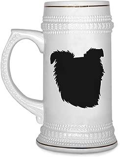 Custom Beer Mug Basque Shepherd Dog Silhouette Ceramic Drinking Glasses Beer Gifts White 18 OZ Design Only
