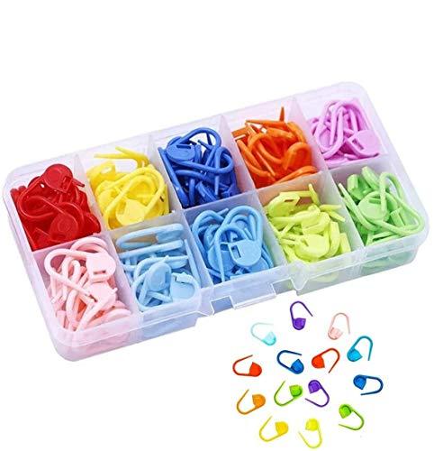 Tweal Nähen Stricken Locking Stitch,150 Stück Strick Häkeln Locking Stitch Maschenmarkierern Nadel Klip mit Aufbewahrungsbox-10 Farben