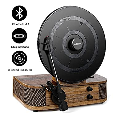Vintage Turntable - Vinyl Record Player, ABOX Bluetooth Turntable with Dual Built-in Stereo Speakers System, Bluetooth 4.1, 3 Speed Turntable, LP, USB/MP3, Vertical Turntable, Natural Wood, Great Gift