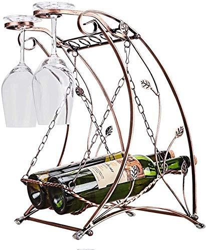 Estantería de vino Barras de bar estante del vino del metal de la vendimia, botellero decorativos de hierro en forma especial for cocina de la casa de comedor mesa de la fiesta barra de mesa estante d
