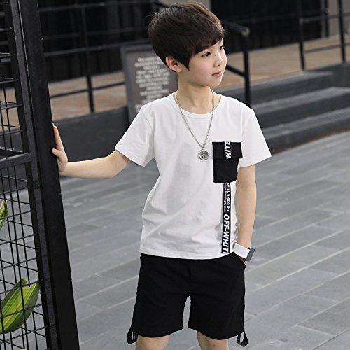 XING GUANG Vêtements pour Enfants Garçon Costume à Manches Courtes Nouveaux Modèles D'été Big Enfants Coréen Lettre Ruban T-Shirt Deux Pièces,White(165cm)