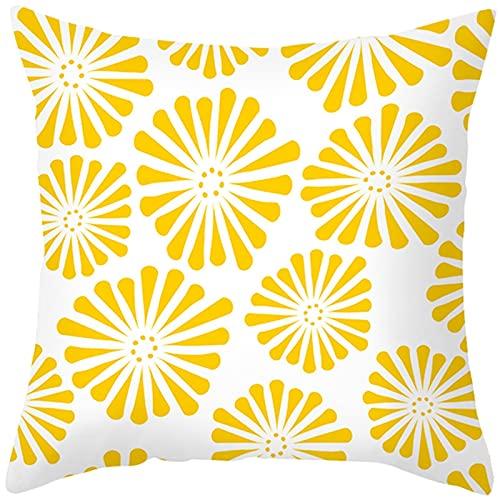 Banemi Funda Cojin de Colores, Flores Poliéster Blanco Naranja para Sofá Cama En Casa 45X45cm