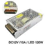 LED安定化電源 AC DC コンバーター 12V 10A 120W スイッチング電源 直流電源変換器 過負荷電圧遮断 安全保護回路 自動リセット可能 LED電源装置