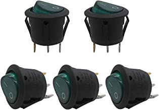 mxuteuk 5pcs AC110V Green Light Illuminated Snap-in Round Boat Rocker Switch Toggle Power SPST ON-Off 3 Pin AC 250V 6A 125V 10A,Use for Car Auto Boat Household Appliances 1 Year Warranty MXU1-5-101NG