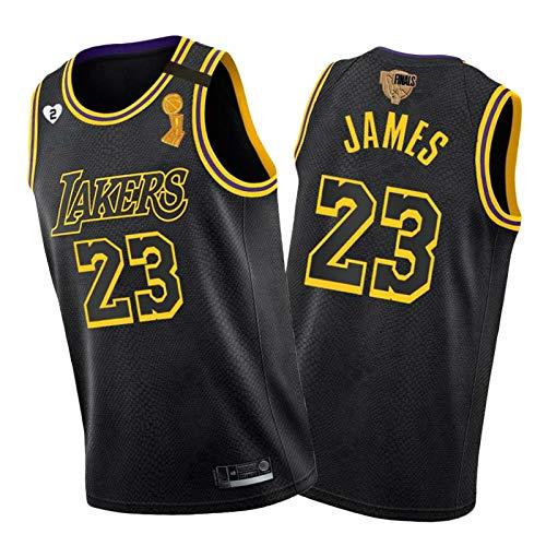King James Basketball-Trikot, Laker 23# Finals Winner Shirts, Hat Sammlungswert, Geeignet Für Trainingswettbewerbe Und Jersey-Partys Black-L