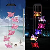 Ulalaza Solar Wind Chime Outdoor LED Color Hanging Flying Pig lamp Mobile Solar Lights Romantic Décor for Patio Garden Yard Home Decoration
