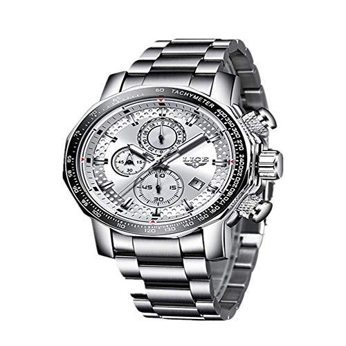 Reloj Hombre Nuevo Cronógrafo Deportivo Relojes para Hombre Marca Acero Completo Reloj de Cuarzo Impermeable Gran Esfera Relogio Masculino