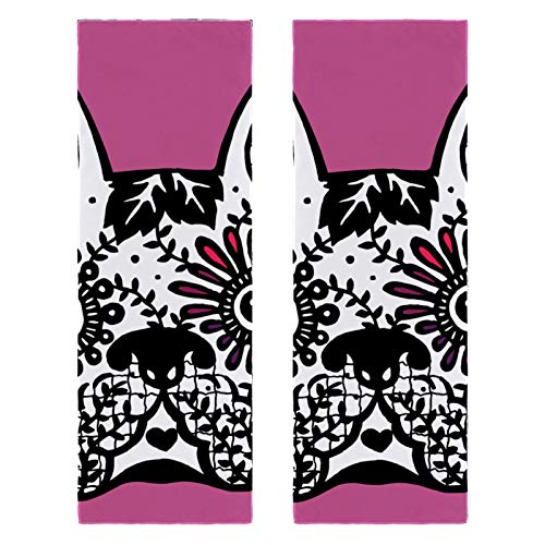 2 Packs Yoga Towel for Gym Camping, Beach and Travel, Frenchie Cute Dog Day of The Dead Sports Bench Towel for Neck, Quick Drying