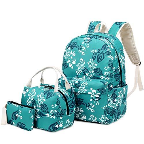 Mikiya 3 Stück Rucksack Floral School Nylon tragbar Computer Dayback Jugendliche, Schulranzen, Handtasche, Lunchtasche, Bleistift-Box für Mädchen
