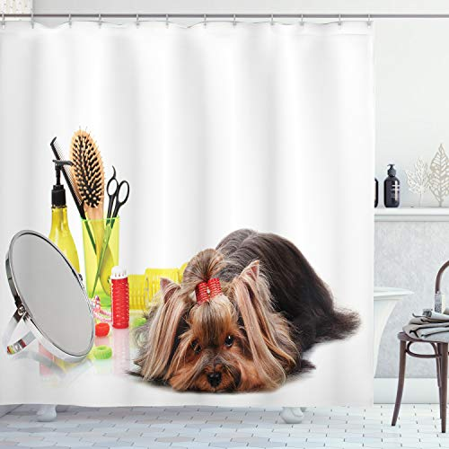 """Ambesonne Dog Lover Shower Curtain, Funny Yorkshire Terrier and Grooming Items Like Haircut Scissors Mirror Comb Picture Print, Cloth Fabric Bathroom Decor Set with Hooks, 84"""" Long Extra, Yellow White"""