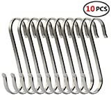 (10 Pack)304 Stainless Steel S Shaped Hooks,Kitchen S Hooks,Heavy Duty Flat Brushed Metal Multipurpose Hooks Food Safe for Butcher Meats,Organizing Utensils,Pots and Pans,Jewelry,Belts,Closets (M)