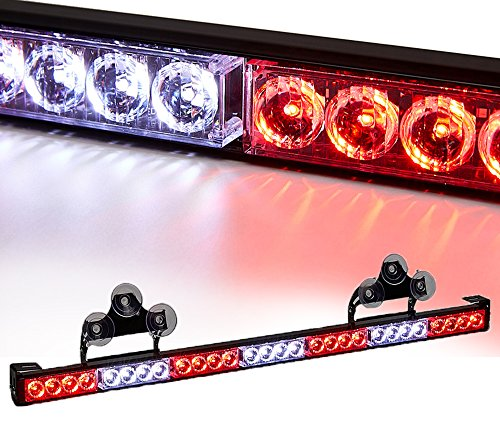 V-SEK 28 LED 31.5' Hazard Emergency Warning Tow Traffic Advisor Flash Strobe Light Bar with Cigar Lighter and Suction Cups (White/Red)