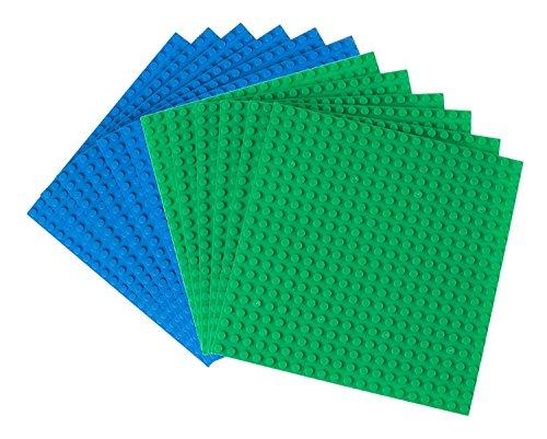 Strictly Briks - Pack de 12 Bases para Construir - Compatibles con Todas Las Grandes Marcas - 15,24 x 15,24 cm - Verde, Azul