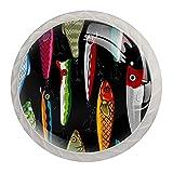 Tirador de cajón tirador de cristal redondo Perillas del gabinete Manija del gabinete de cocina,serpentina de carpa