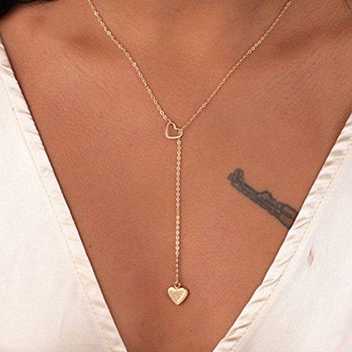 ShilinfUS Herzkette Damen Silber Herz Kette Geschenke für Frauen Schmuck Freundin Halsketten Silberkette Herzchen-Kette Ketten-Anhänger Herzanhänger