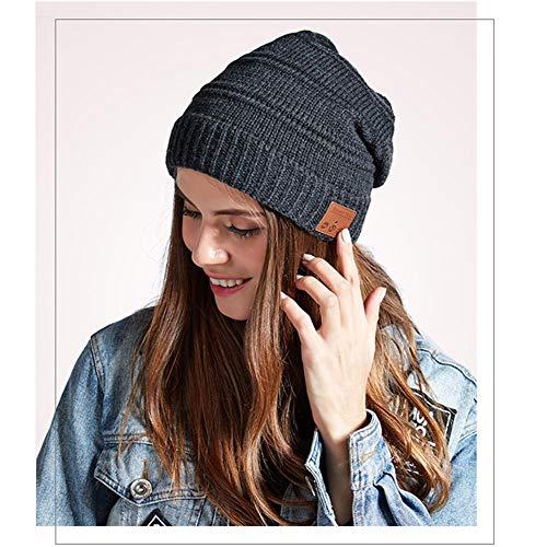 Verloco Bluetooth flanel muts, gebreid, voor mannen en vrouwen, met een draadloze stereo hoofdtelefoon, herfst en winter, bluetooth-koptelefoon, V5.0, warm fluweel, voor hardlopen, outdoorsport, skiën en ijskunst