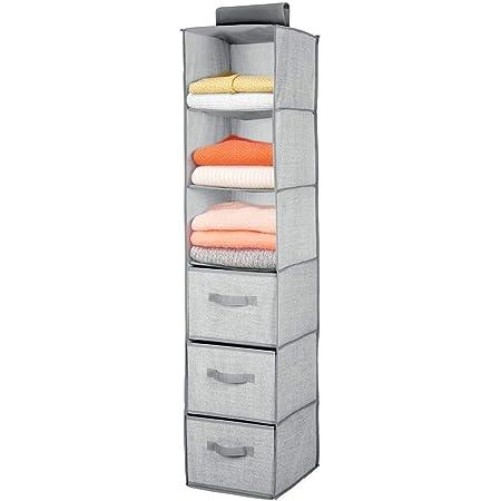 mDesign étagère suspendue avec 3 compartiments et 3 tiroirs – rangement à suspendre en tissus fibre synthétique – meuble de rangement idéal pour les vêtements – gris