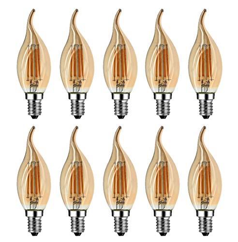MENTA Bombillas Filamento LED E14 en Forma de Vela, Incandescente Equivalente a 40w, Blanco cálido 2700k 4W, Casquillo Fino E14 SES, AC 200-240V, Pack de 10 Unidades