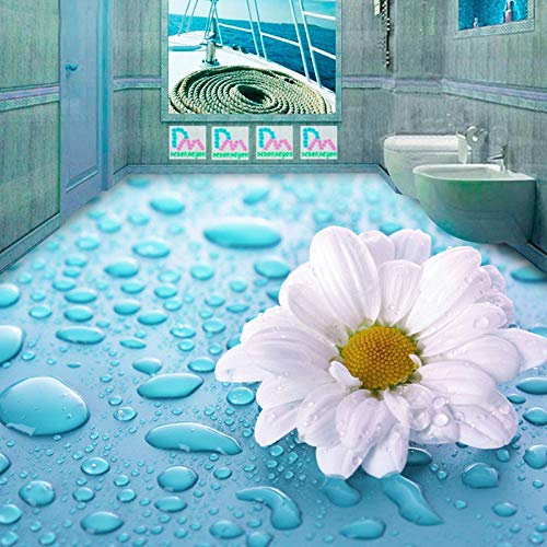 Flores Pastorales modernas Suelo 3D Mural Foto Papel tapiz Baño PVC Autoadhesivo Impermeable Etiqueta de suelo 3D Papel De Parede-250 * 175cm