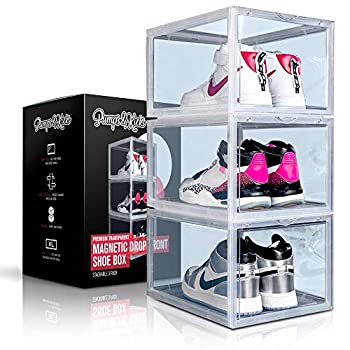 PUMPS&KICKS Shoe Storage Organizer Boxes   3 Pack   Clear Plastic   Stackable for Closet   Drop Front Opening   Extra Large for High Top sneakers Mens size 14 and Womens High Heels  Clear