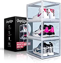 PUMPS&KICKS Shoe Storage Organizer Boxes   3 Pack   Clear Plastic   Stackable for Closet   Drop Front Opening   Extra Large for High Top sneakers, Mens size 14 and Womens High Heels (Clear)