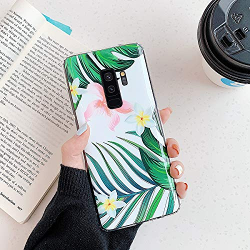 Urhause Compatible con Samsung Galaxy S9 Plus Funda Carcasa Caso Transparente Claro Borde TPU Silicona Patrón Hojas de Flores Protectora Plástico Suave Ultra-Delgado Case Cover - Hoja-2