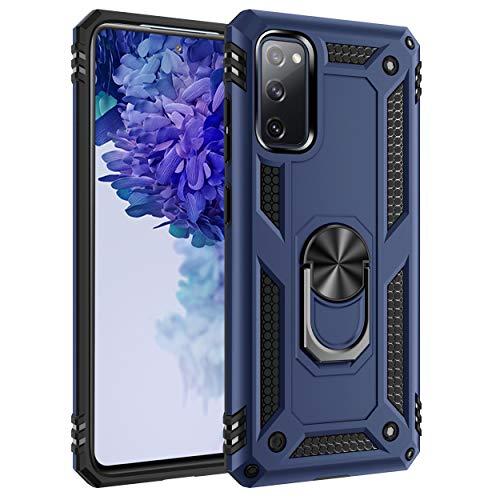 AFARER Funda para Galaxy S20 fe 5G, protección extrema con armadura militar con anillo de rotación de 360 grados, irrompible, carcasa para Samsung Galaxy S20 fe/S20 fe 5G, color azul