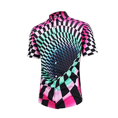 TOPUNDER Men's Lattice Print Turn- Down Collar Slim Fit Short Sleeve Shirt Top Blouse Watermelon Red