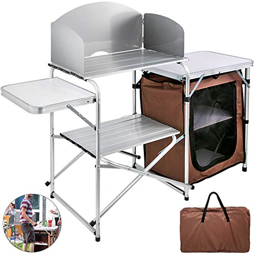 VBENLEM Camping Outdoor Kitchen 2-Tier Camping Kitchen Table with Zippered Bag Camping Table 2 Side Tables Camp Cook Table Portable Outdoor Camping Table for Outdoor Activities Brown Color