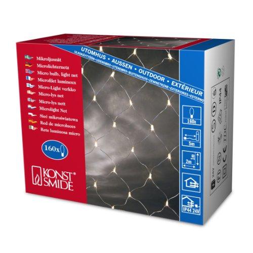 Konstsmide 3706-003 Microlight Filet Lumineux 160 Lampes Claires + Câble Transparent 24 V