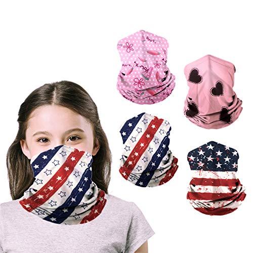 Kids Neck Gaiters Face MasksforCoronavịrus Protection KidsGaiter masks Balaclava UV Protection BandanasBoys Girls 4Pcs(pink+flag)