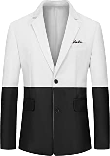 YOUTHUP Mens 2-Color Patchwork Blazer Slim Fit 2 Button Suit Jacket Business Casual Chic Outwear Jackets
