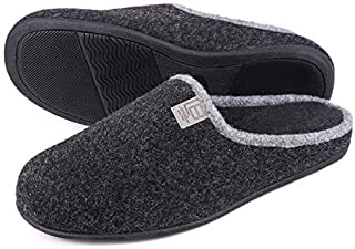 Men's Woolen Fabric Memory Foam House Slippers Anti-Slip On Scuff House Shoes Closed Toe Slide Breathable Loafer