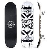 BELEEV Skateboards, 31 x 8 pulgadas, monopatín completo para principiantes, 7 capas de arce canadiense doble patada cubierta cóncava Cruiser truco para niños y adultos