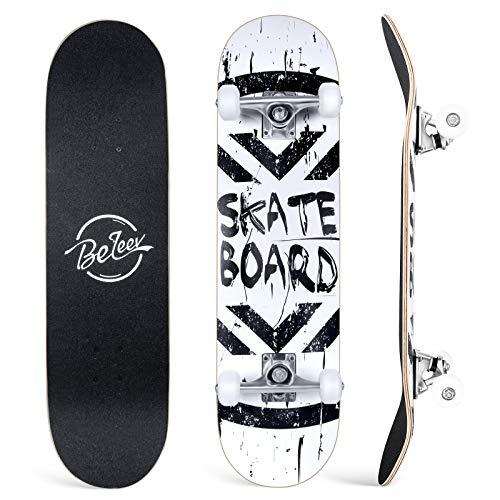 BELEEV Skateboards, 31 x 8 Pulgadas, monopatín Completo para Principiantes, 7 Capas de Arce Canadiense Doble Patada Cubierta cóncava Cruiser Truco para niños y Adultos(Blanco)