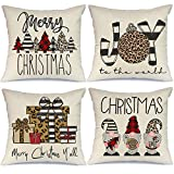 AENEY Christmas Pillow Covers 18x18 Set of 4, Buffalo Plaid Stripe Tree Gnome Rustic Winter Holiday Throw Pillows Farmhouse Christmas Decor for Home, Xmas Decorations Cushion Cases for Couch A300-18